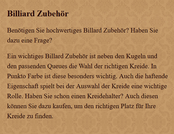 Billard-Zubehoer in  Rüsselsheim (Main)