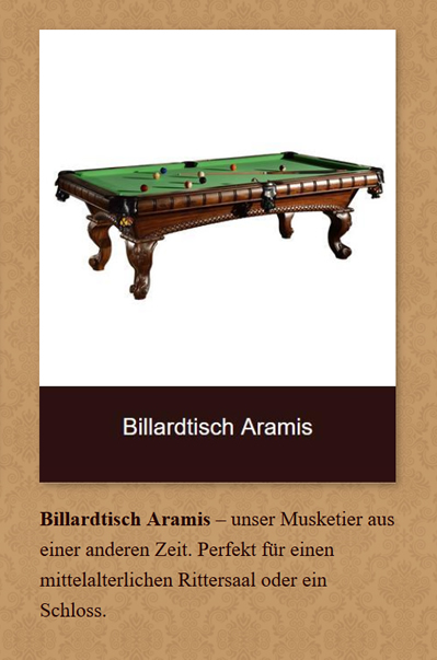 Billardtisch-Aramis in 45549 Sprockhövel