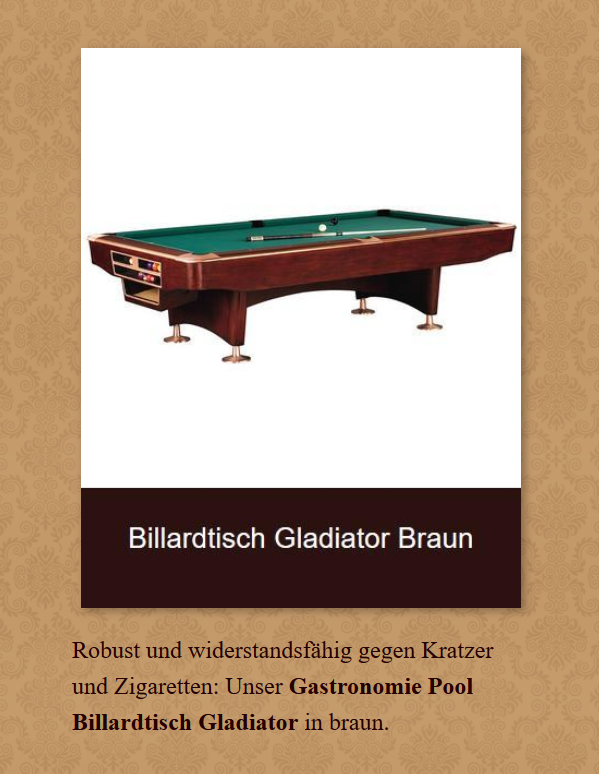 Billardtisch-Gladiator-Braun in  Marburg