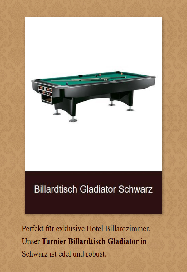 Billardtisch-Gladiator-Schwarz für 63739 Aschaffenburg
