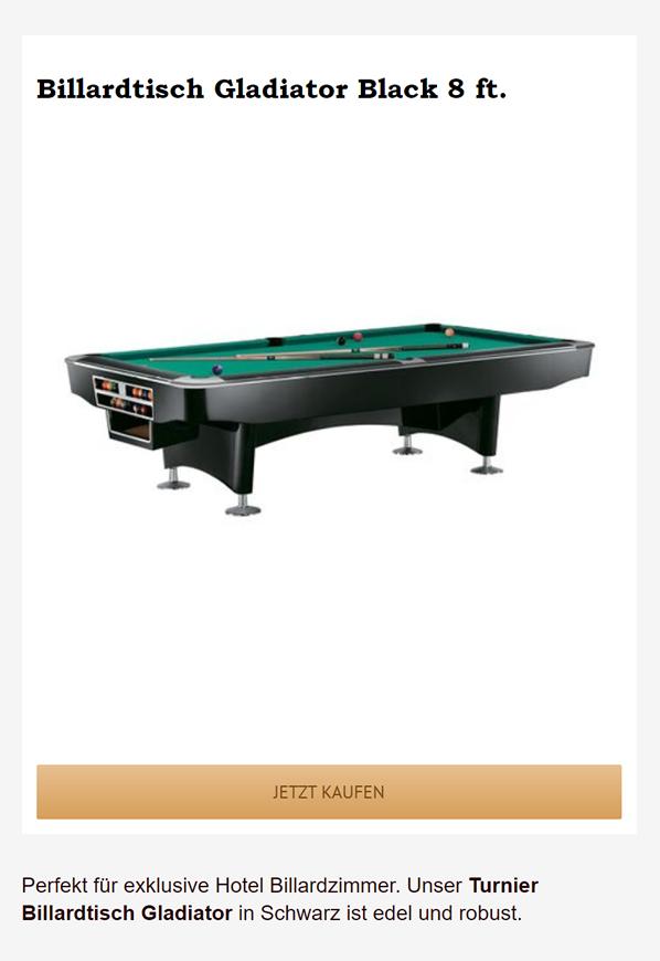Billardtisch-Gladiator-Schwarz in  Bernau (Berlin)