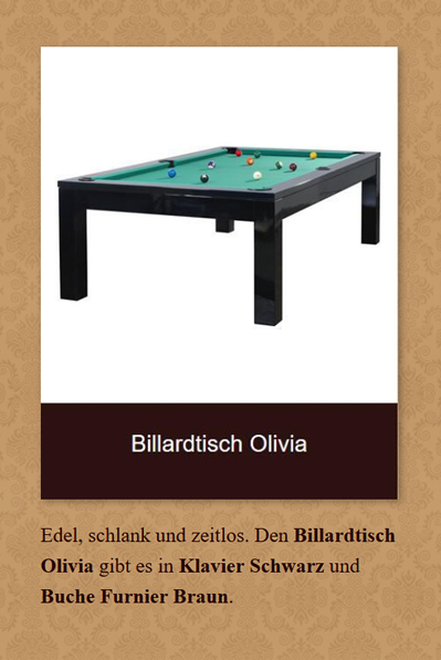 Billardtisch-Olivia in  Oerlinghausen