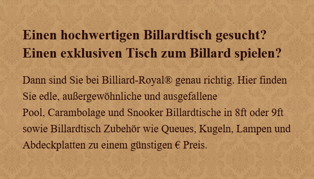Billardtisch in  Oerlinghausen
