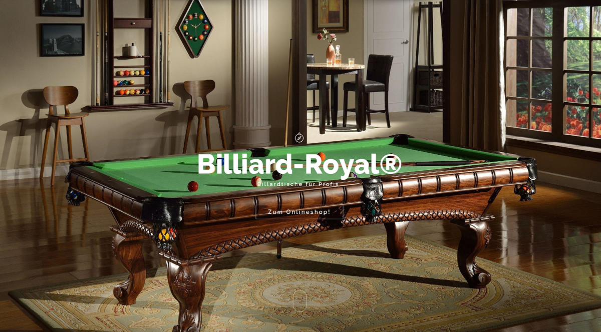 Billardtisch Ratingen « Billiard-Royal® » Pool, Zubehör Online-Shop
