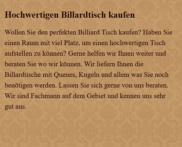 Billiard-Tisch in  Weimar