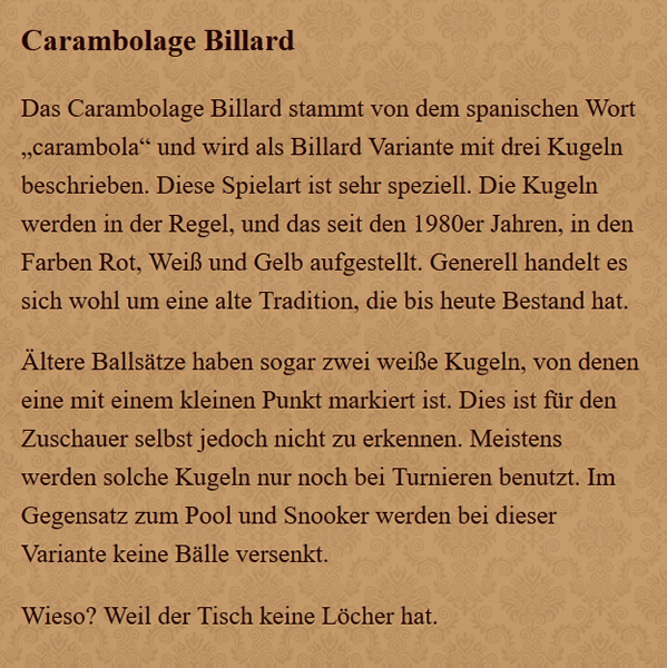 Carambolage-Billard in  Marl