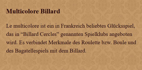 Multicolore-Billard in  Bornheim