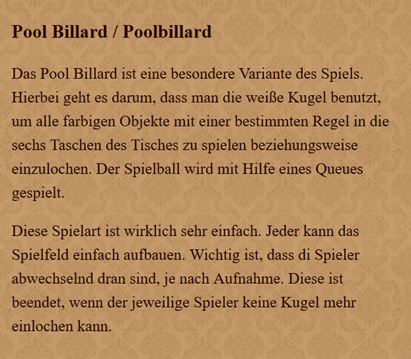 Poolbillard in  Rottenburg (Neckar)