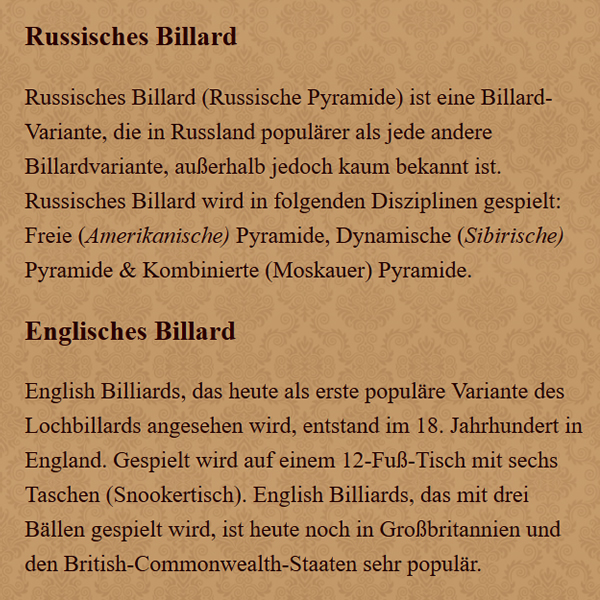 Russisches-Englisches-Billard in  Dorsten