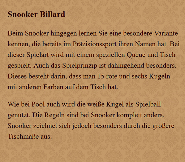 Snooker-Billard in  Hessen